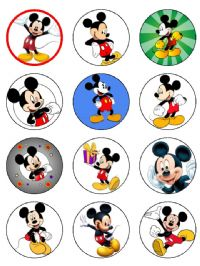12 x Edible Micky Mouse Pre-cut birthday cup cake toppers